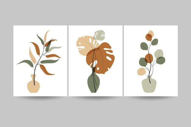 Conjunto de ilustraciones con plantas y hojas. arte de pared listo para imprimir