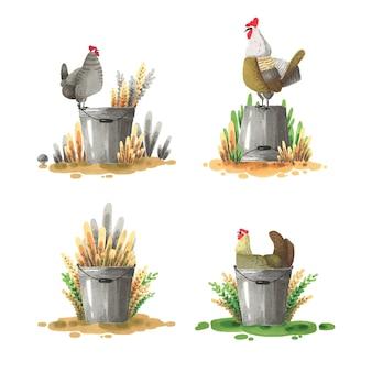 Un conjunto de ilustraciones con un pollo y un balde.