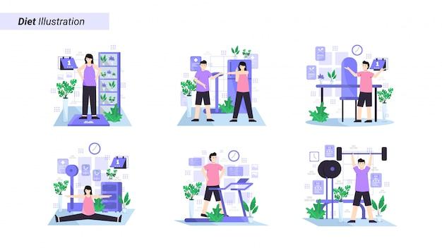 Conjunto de ilustraciones de ponerse a dieta con ejercicio regular todos los días y mantener una dieta saludable