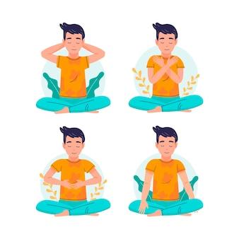 Conjunto de ilustraciones de poses de reiki autocurativo