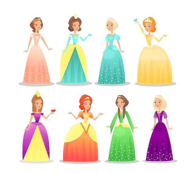 Conjunto de ilustraciones de princesas chicas hermosas con vestidos largos y tiaras personajes
