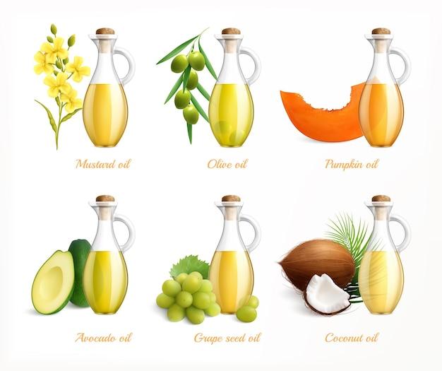 Conjunto de ilustraciones realistas de aceites alimentarios.