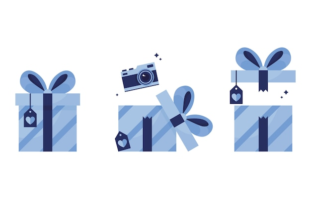 Conjunto de ilustraciones regalos en paquetes, un regalo cerrado con una postal y un arco, abriendo una caja con una cámara. cumpleaños, año nuevo, navidad. premio ganado. prima. azul. sobre fondo blanco