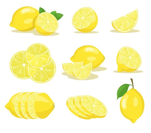 Conjunto de ilustraciones de rodajas de limón
