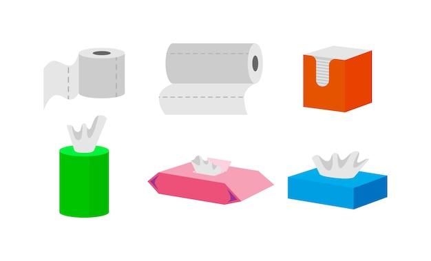 Conjunto de ilustraciones de rollo de papel higiénico y toalla de cocina.