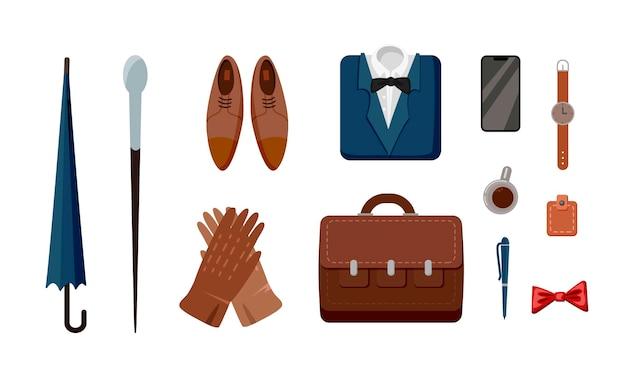 Conjunto de ilustraciones de ropa y accesorios formales masculinos.