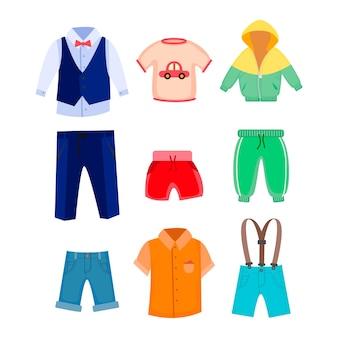 Conjunto de ilustraciones de ropa informal y formal para niños.