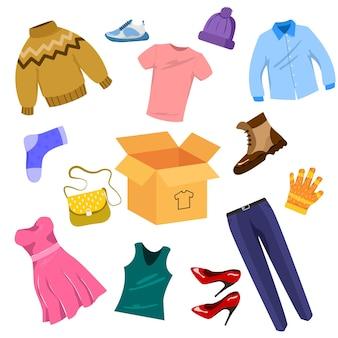 Conjunto de ilustraciones de ropa usada para donación o reciclaje.