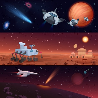 Conjunto de ilustraciones de rover y naves espaciales que llevan a cabo la misión de exploración de marte y el universo y la conquista de estrellas y planetas