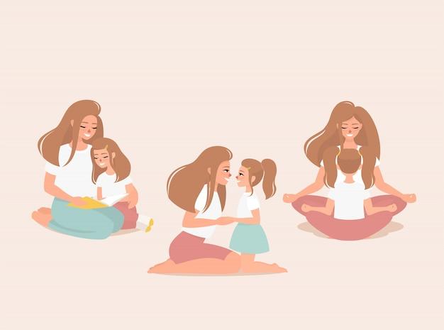 Conjunto de ilustraciones de una rubia feliz madre con una hija