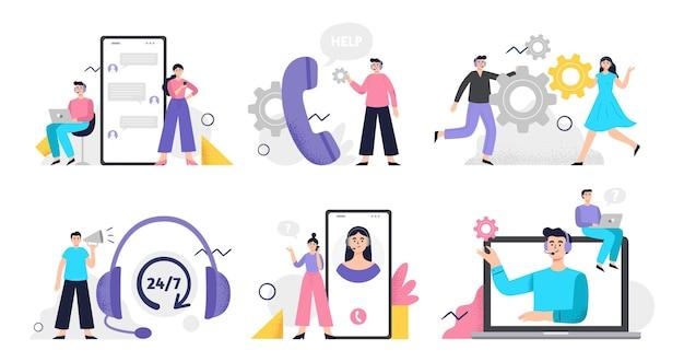 Conjunto de ilustraciones de servicio al cliente