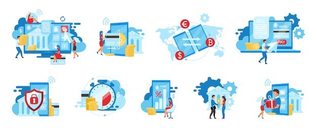Conjunto de ilustraciones de servicio bancario. aplicación de pagos electrónicos, servicio de facturación, transacciones financieras seguras conceptos de dibujos animados. ewallet, transferencia de dinero. pagos instantáneos con tarjetas de crédito, metáforas de depósitos