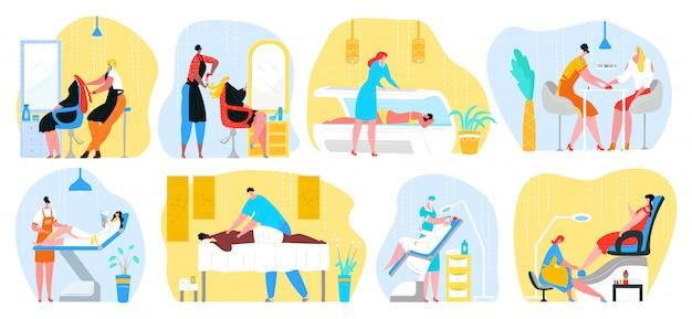 Conjunto de ilustraciones de servicios de mujer de salón de belleza. peluquería, masajes, estilista haciendo manicura de uñas a clientas. esteticista trabaja con hermosos modelos de maquillaje. barbería y depilación.