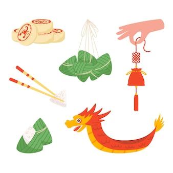Conjunto de ilustraciones sobre el festival del dragón con comida tradicional: albóndigas, pastel de cinco venenos, bolsa de perfume y bote.