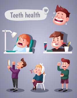 Conjunto de ilustraciones sobre la salud de los dientes.