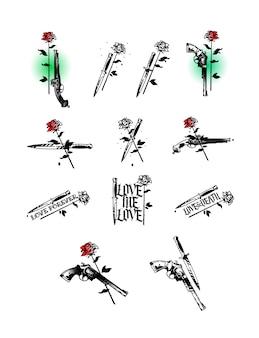 Conjunto de ilustraciones de tatuajes, pistolas, cuchillos y rosas.