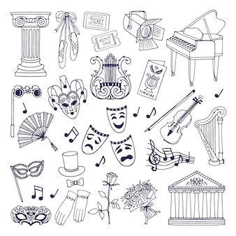Conjunto de ilustraciones de teatro. símbolos vectoriales de ópera y ballet aislados en blanco