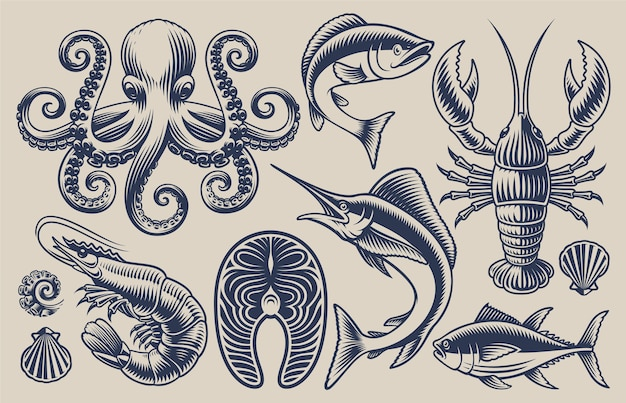 Conjunto de ilustraciones para el tema de la comida de mar sobre un fondo claro.