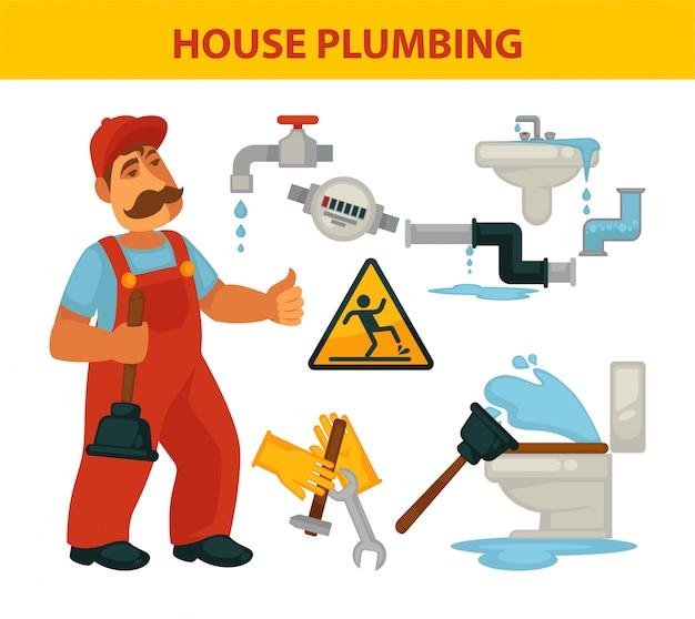 Conjunto de ilustraciones temáticas de fontanería de casa y fontanero en uniforme.
