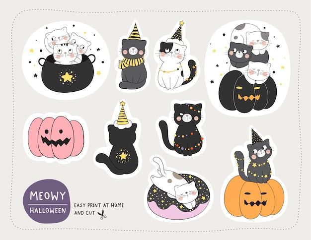 Conjunto de ilustraciones temáticas de halloween
