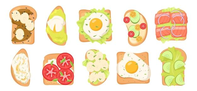 Conjunto de ilustraciones de tostadas con varios ingredientes.