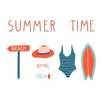 Conjunto de ilustraciones de vacaciones de verano.