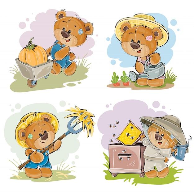Conjunto de ilustraciones de vector de apicultor de oso de peluche, agricultor.
