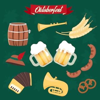 Conjunto de ilustraciones de vector plano de oktoberfest