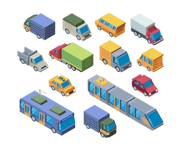 Conjunto de ilustraciones de vectores 3d isométricos de transporte urbano