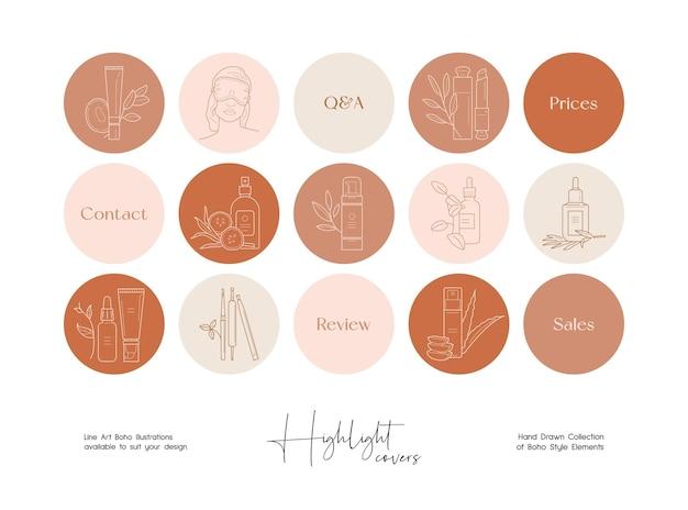 Conjunto de ilustraciones de vectores de belleza de arte de línea dibujada a mano conjunto de vectores iconos de plantillas de diseño