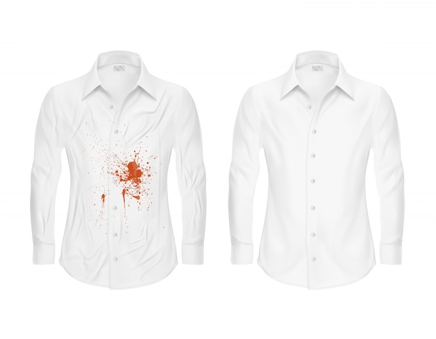Conjunto de ilustraciones de vectores de una camisa blanca con un punto rojo y limpio, antes y después de una tintorería