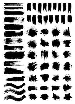 Conjunto de ilustraciones de vectores de garabatos y borrones