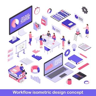 Conjunto de ilustraciones de vectores isométricos de flujo de trabajo