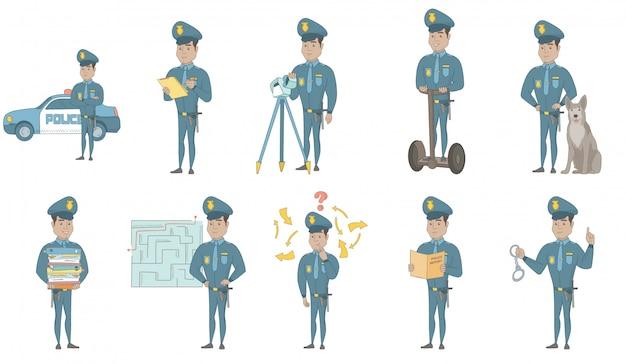 Conjunto de ilustraciones de vectores de joven policía hispano