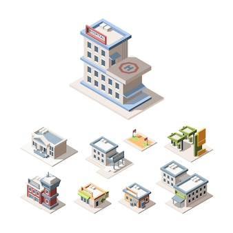 Conjunto de ilustraciones vectoriales 3d isométricas de la arquitectura de la ciudad moderna. hospital, estación de bomberos, departamento de policía.
