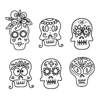 Conjunto de ilustraciones vectoriales de calaveras de azúcar decoradas de diferentes tipos