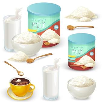 Conjunto de ilustraciones vectoriales de color de leche entera en polvo.
