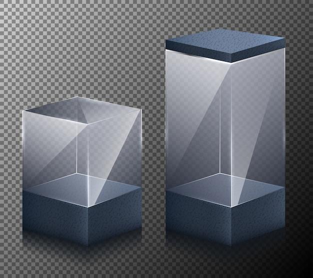Conjunto de ilustraciones vectoriales de cubos pequeños y grandes aislados en un fondo gris.