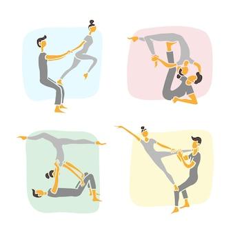 Conjunto de ilustraciones vectoriales dibujadas a mano que muestran a una pareja haciendo varias posturas de yoga