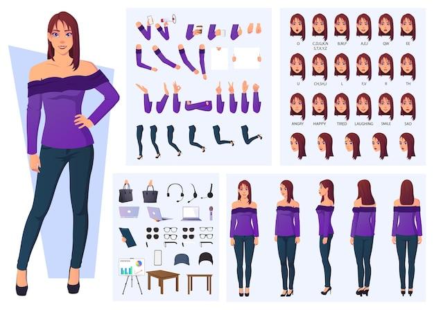 Conjunto de ilustraciones vectoriales de dibujos animados para la creación de personajes de mujer de moda con vista frontal, lateral y posterior