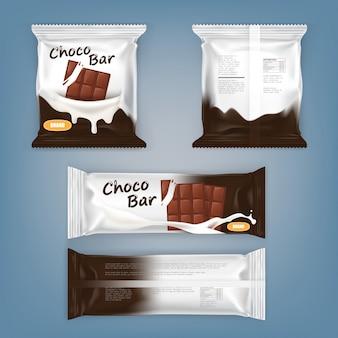 Conjunto de ilustraciones vectoriales de embalaje para barras de chocolate