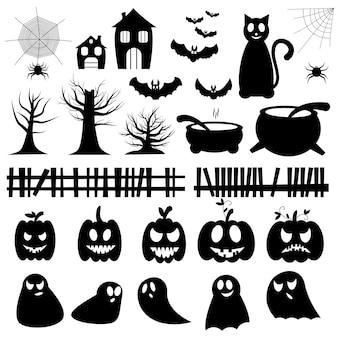 Conjunto de ilustraciones vectoriales para halloween. conjunto de calabazas, fantasmas, árboles, arañas, murciélagos. Vector Premium