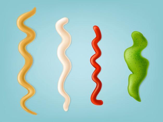 Conjunto de ilustraciones vectoriales, iconos de color de tiras derramadas de diferentes salsas.