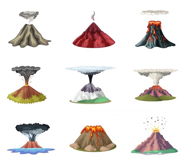Conjunto de ilustraciones vectoriales de montañas y explosión caliente de volcán.