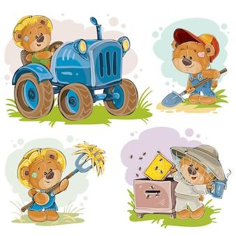 Conjunto de ilustraciones vectoriales de oso de peluche conductor de tractor, apicultor, agricultor.