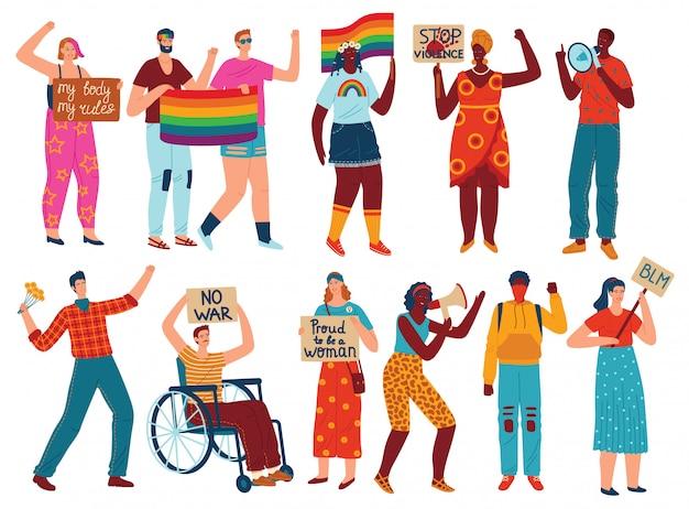 Conjunto de ilustraciones vectoriales de personas de protesta.