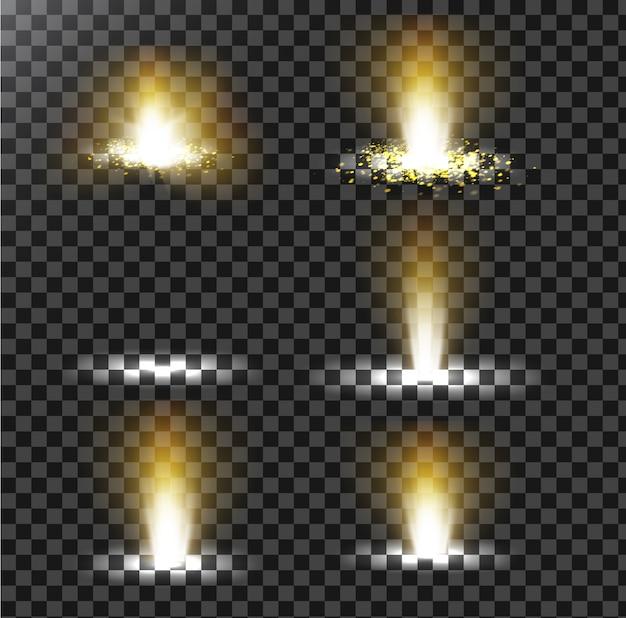 Conjunto de ilustraciones vectoriales de un rayo de luz de oro con brillo, un haz de luz