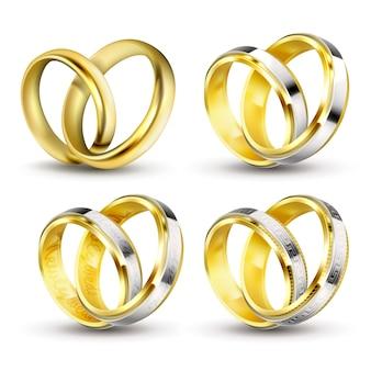 Conjunto de ilustraciones vectoriales realistas de anillos de boda de oro con sombra
