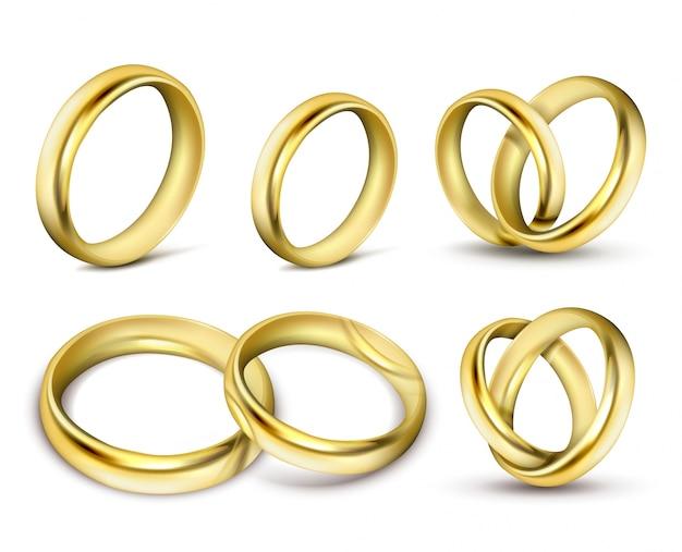 Conjunto de ilustraciones vectoriales realistas de los anillos de bodas de oro con sombra