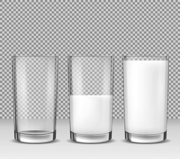 Conjunto de ilustraciones vectoriales realistas, iconos aislados, vasos de vidrio vacía, medio lleno y lleno de leche, productos lácteos